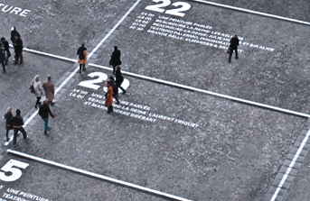 People walking on planning phase table