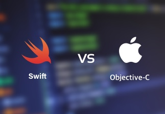 Swift and Objective-C logos opposite each other