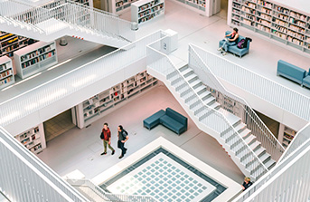 Depiction of a real library interior symbolizing Python libraries